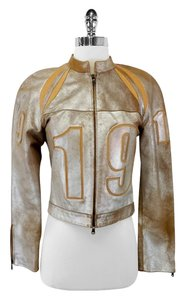 Donald J Pliner Metallic Leather Jacket