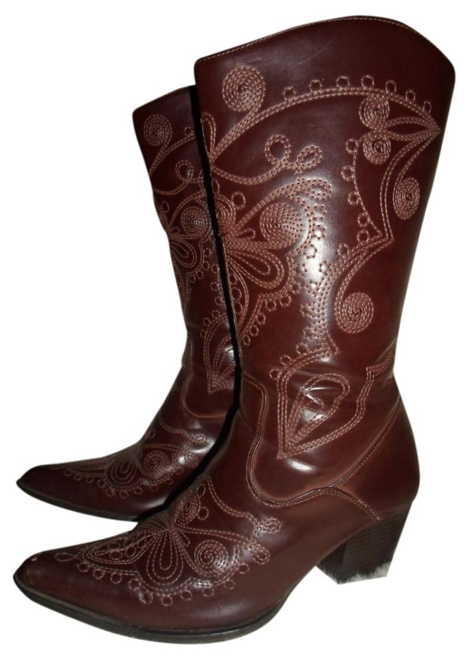 chilis brown western style boots booties size us 8 regular m b