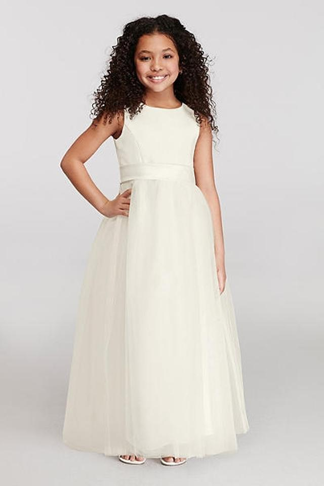 beccb3dd1 David's Bridal Ivory Satin Flower Girl Tulle Skirt/Style S1038 Bridesmaid/Mob  Dress Size
