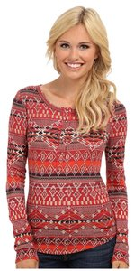 Lucky Brand Waffle Knit Long Sleeve T Shirt Red