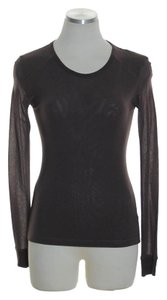 Free People Knit Stretch Long Sleeve T Shirt Brown