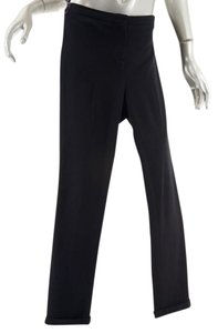 Jil Sander Viscose Slender Fit Cuffs Straight Pants Black