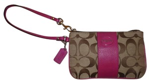 Coach Refurbished Monogram Wristlet in Taupe and Pink