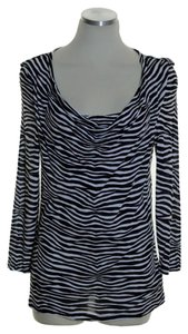 MICHAEL Michael Kors Stretch Knit Drape T Shirt Black White