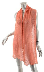 Eric Bompard ERIC BOMPARD CASHMERE Coral 100% Pure Cashmere Eyelet Scarf