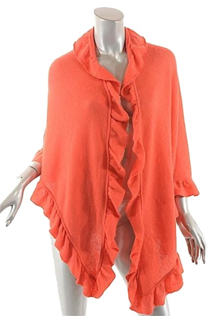 Item - Orange W Poppy Softest Cashmere/Wool Blend Triangle Wrap/Shawl W/Ruffle Edges Scarf/Wrap