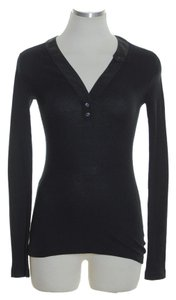 Three Dots Long Sleeve Knit Stretch T Shirt Black