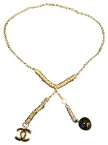 Chanel Vintage Chanel Gold Necklace With Pearl and Emblem
