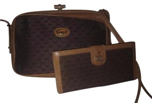 Gucci Early Equestrian Hardware Bamboo Accent Clasp Canvas/Leather Hinged Shape Cross Body Bag