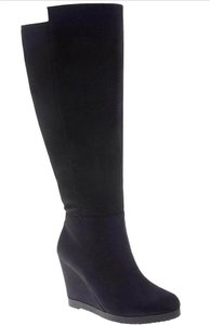 Lane Bryant Suede Wedge Wide Black Boots