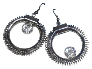 Icing New Icing Silver Tone Large Hoop Earrings Crystal J2754