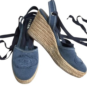 Prada Strapped Espadrilles Blue denim Wedges
