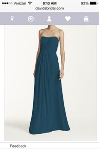 David's Bridal Peacock Long Strapless Chiffon Pleated Bodice Dress