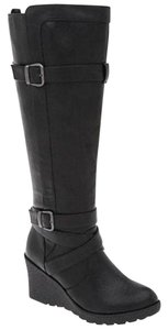 Lane Bryant Wedge Buckle Moto Motorcycle Black Boots