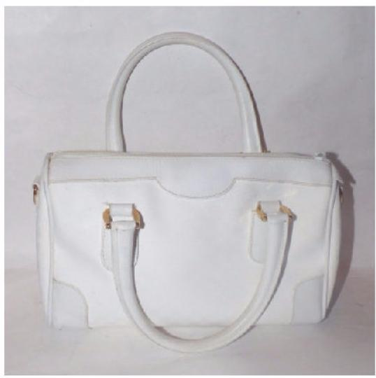 Gucci Doctor's Speedy/Boston Gold Hardware Has Detachable Strap Satchel in white small G logo print coated canvas and white leather Image 3