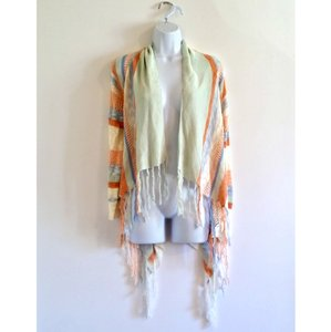 Oh MG! Boho Fringe Fringed Striped Draped Cardigan