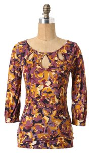 Anthropologie Floral Keyhole 3/4 Sleeves Lightweight Sweater