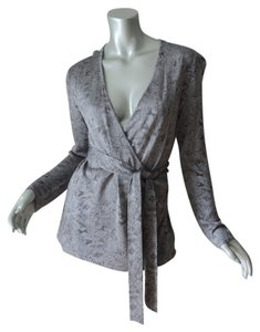 Dana Buchman Silver Shimmer Faux Wrap New With Tag Sweater