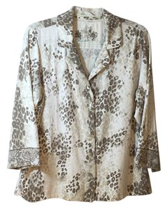 Soma Intimates Button Down Shirt Multi color beige, white & brown