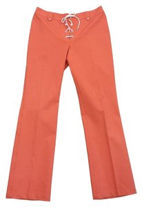 Escada Orange Cotton Lace Up Pants