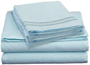 Clara Clark 4 PC Queen Size Sheets Set, Aqua Blue
