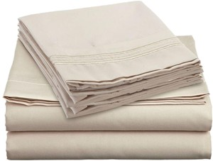 Clara Clark 4 PC Queen Size Sheets Set, Beige