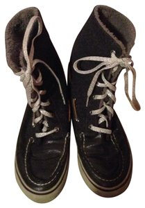 Sperry Grey, silver, purple line Boots