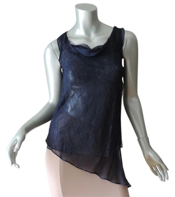 Miss Me Mm Couture Chiffon Spring Summer Top navy blue