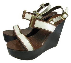 Tory Burch T-logo Wedge Platform Sandals white/brown/ navy Platforms