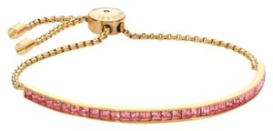 Michael Kors Brilliance Pink Pave Bar Slide Gold Tone Adjustable Bracelet