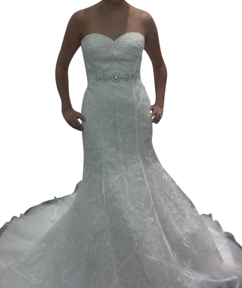 Zac posen ivory tulle lace and satin formal wedding dress for Zac posen wedding dress price