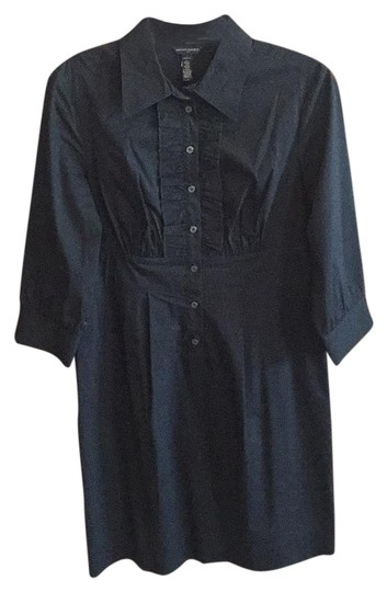 Banana Republic Black Ruffle Shirt Dress low-cost