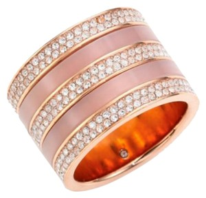 MICHAEL Michael Kors Rose Gold Tone Pave Crystal & Blush Acetate Barrel Ring