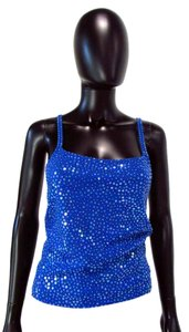 Dana Buchman Spaghetti Strap Sequinned Slip On Top Blue