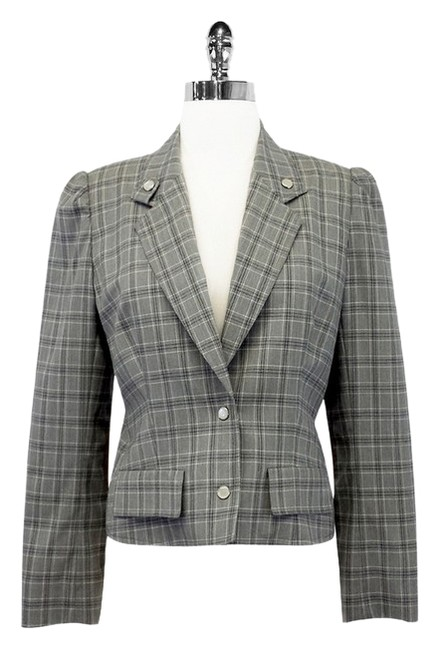 Preload https://item1.tradesy.com/images/dior-gray-plaid-wool-cropped-jacket-blazer-size-8-m-1770975-0-0.jpg?width=400&height=650