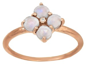 Other 14 Karat Rose Gold Plated Ring with Moonstone Flower