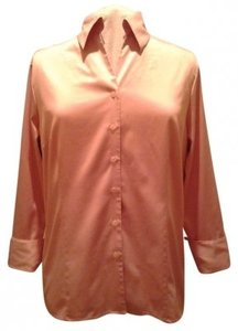 dressbarn 14w 16w Satin Machine Washable Button Down Shirt Dusty Rose Pink