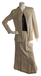 Chanel Chanel Women's Beige Cotton Beaded Skirt Suit, Size 40 (30291)
