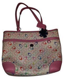 Coach Tote in White, Multicolor with Pink trim