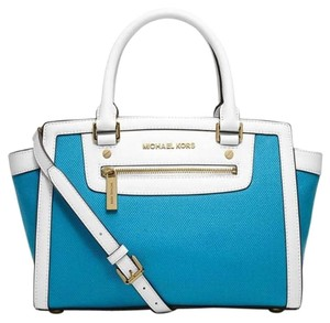 Michael Kors Saffiano Leather Satchel in Summer Blue White/Gold Tone Hardware
