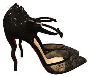 Christian Louboutin Magicadiva Lace Bow Suede black Pumps