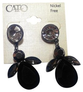 Cato New Cato Large Bib Earrings Black Silver Crystals Long J2758