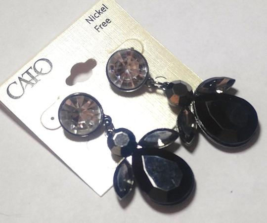 Cato New Cato Large Bib Earrings Black Silver Crystals Long J2758 Image 1