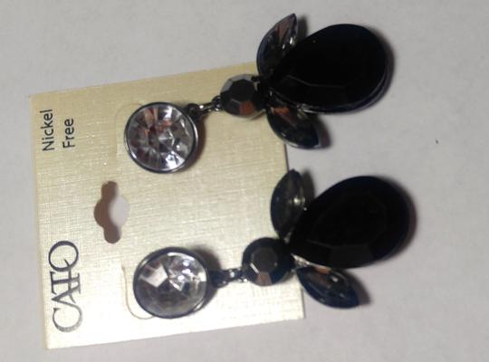 Cato New Cato Large Bib Earrings Black Silver Crystals Long J2758 Image 2