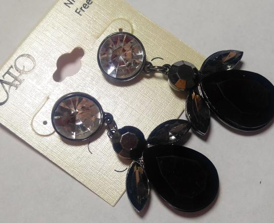 Cato New Cato Large Bib Earrings Black Silver Crystals Long J2758 Image 3