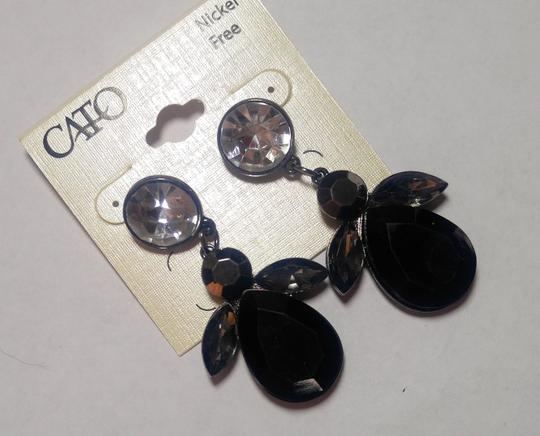 Cato New Cato Large Bib Earrings Black Silver Crystals Long J2758 Image 4