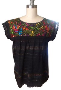 Mexican Oaxaca Blouse Mexico Embroidered Top Black / Multi-Colored