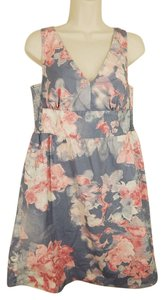 Ann Taylor LOFT short dress Gray Pink Floral on Tradesy
