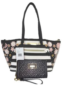 Betsey Johnson Black Stripe Satchel in black, bone
