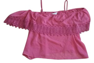 American Rag Off The Cold Crochet Sheer Top Raspberry